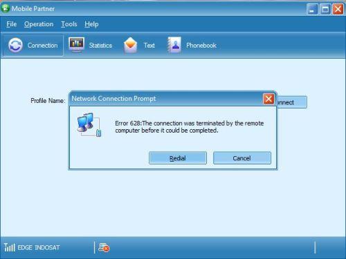 mengatasi error 628 pada modem 1